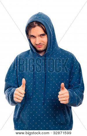 Happy Man In Hoodie Thumbs Up