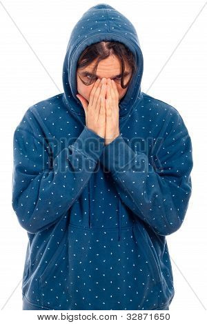 Serious Worried Man In Hoodie
