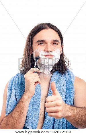 Happy Man Shaving