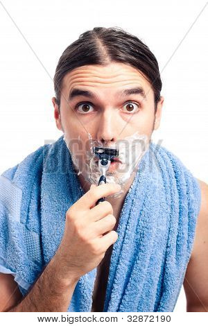 Shocked Man Shaving