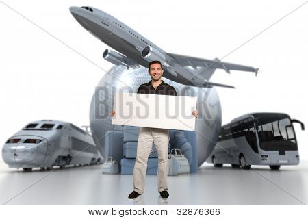 3D rendering of a man holding a blank signboard with a world globe, an airplane, a train, and a coach bus with a pile of luggage on the background