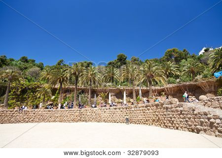 Ground Terrace In Park Guell, Barcelona