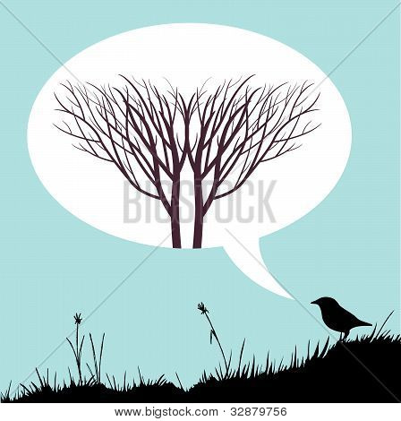 Bird talking tree