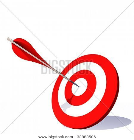High resolution concept or conceptual red dart target board with an arrow in the center isolated on white background,for success,competition,business,game,achievement,win,perfection,strategy or focus