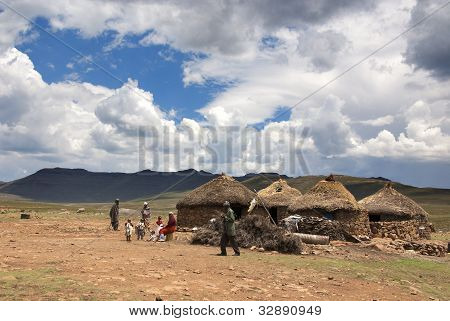 Sotho people in small village