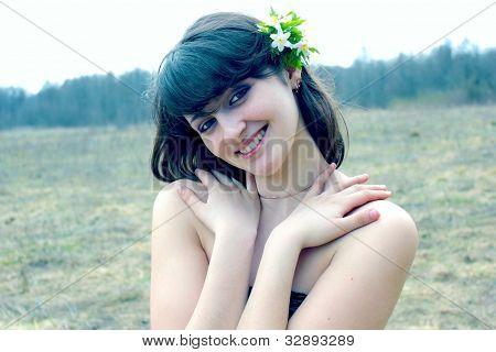 Flowers in her hair woman