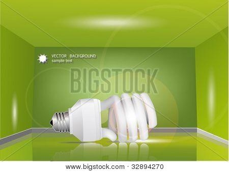 energy saving light bulb in the green room