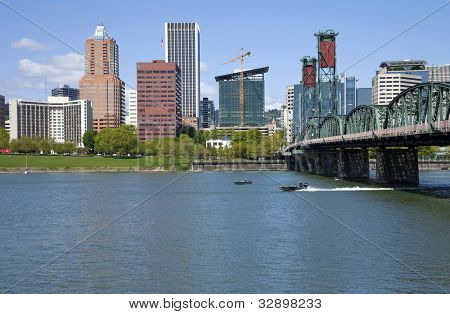 Portland Oregon Skyline, In Spring.