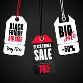 Set Of Sale Tags With Text. Vector Labels For Design Banners And Flyers. Black Friday Sales Tag.  Bl poster
