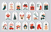 Vector Illustration - New Year And Christmas Set Of Gift Tags In The Style Of Scandinavian Simple Ha poster