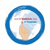 Blue Circle And Finger With Blood Drop World Diabetes Day 14 November Vector Illustration Eps10 poster