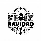 Feliz Navidad Merry Christmas In Espanol. Vector poster