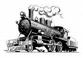 Vintage Steam Train Locomotive, Engraving Style Vector Illustration. On Brown Background. Logo Desig poster