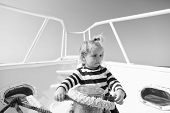 Small Sailor On Boat. Summer Vacation. Childhood Happiness. Funny Kid In Striped Marine Shirt. Journ poster