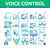 Voice Control Collection Elements Icons Set Vector Thin Line. Voice Controlling Smart House And Car, poster