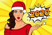2020 New Year Comic Book Style Postcard Or Greeting Card With Wow Sexy Young Girl. Vector Illustrati poster