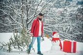 Young Lumberjack Bears Fir Tree In The White Snow Background. Winter Portrait Of Lumber In Snow Gard poster