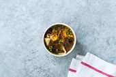 Take Away Asian Food Wonton Soup With Bok Choy And Chives In Plastic Bowl Package Or Container Box. poster