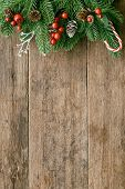 Holiday Christmas Wallpaper. Christmas Card Background With Festive Decoration. Wood Plank For Greet poster