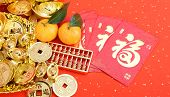 Chinese new year ornament--gold ingot,golden coin and golden abacus,Chinese calligraphy FU Translati poster