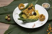 Food Of The Peruvian Jungle, Juane With Rice And Chicken Wrapped In Banana Leaves. Jungle poster