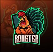 Rooster Esport Mascot Logo Design With Text poster