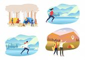 Seasonal Activities Illustration Set. People Skating On Ice, Camping Outdoors. Activity Concept. Vec poster