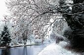Snowing In England, Uk, Beautiful Winter Walk Along The Path Near The Canal poster