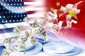 Flying Of Us Dollar And China Yuan Banknote On Usa China Flag And Coins .it Is Symbol Of Economic Ta poster
