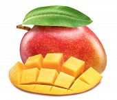 Mango fruit with mango cubes. Isolated on a white background. File contains clipping path. poster