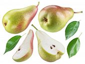Ripe pear, half of pear and pear leaves on white background. File contains clipping path for each it poster