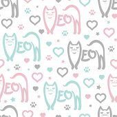 Seamless Pattern With The Inscription Meow In The Shape Of A Cat. On White Background. Vector poster