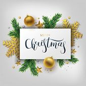 Christmas Greeting Card, Vector Background.gold And Silver Christmas Ball, And Branch Fir-tree. Meta poster