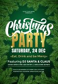 Christmas Party Banner Template With Text And Fir Tree Branches Border. 24 December Music Party Cele poster