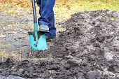 A Farmer With A Shovel Digs The Ground And Removes The Weeds From The Beds In The Fall Day Against T poster