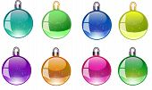 Colorful Christmas Balls Vector Icons Set Collection Bundle. Set Christmas Decorations. Vector New Y poster