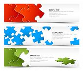 image of jigsaw  - Set of puzzle horizontal banners  - JPG
