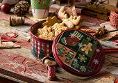 Homemade Delicious Gingerbread Cookies In Vintage Gift Round Metal Box With Christmas Ornaments On W poster