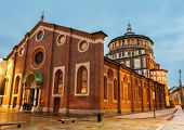 Beautiful church Santa Maria delle Grazie is the place where can be found famous fresco of Leonardo  poster