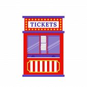 Ticket Booth. Vector. Circus, Carnival Stand. Fun Fair Office With Windows. Kiosk In Amusement Park. poster