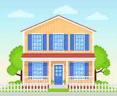 House Exterior. Vector. Home Facade Porch. Front View Townhouse Building. Modern Cottage With Roof Y poster