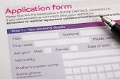 Application form concept for applying for a job, finance, loan, mortgage or a claim form