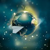 A Paper Airplane Flies Around The World. A Conceptual Image Of A Trip Around The World. Nasa Materia poster