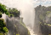 Victoria falls is the largest fall on the African continent at the border of Zimbabwe, Zambia and Bo poster