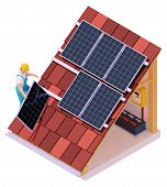 Vector Isometric Solar Panel Installation. Worker On The House Roof Installing Alternative Energy Ph poster