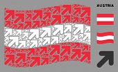 Waving Austrian Flag. Vector Arrow Up Right Design Elements Are Combined Into Conceptual Austrian Fl poster
