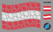 Waving Austrian Flag. Vector Electrical Spark Pictograms Are Organized Into Mosaic Austrian Flag Col poster