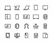 Devices Line Icons. Desktop Computers, Electronic Devices And Wearable Gadgets, Outline Pc And Smart poster