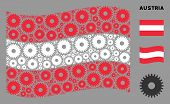 Waving Austrian Flag. Vector Cogwheel Design Elements Are Organized Into Mosaic Austria Flag Abstrac poster