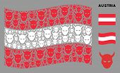 Waving Austrian Flag. Vector Daemon Head Icons Are Combined Into Conceptual Austrian Flag Illustrati poster